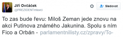 cseh elnöki szóvivő tweetje